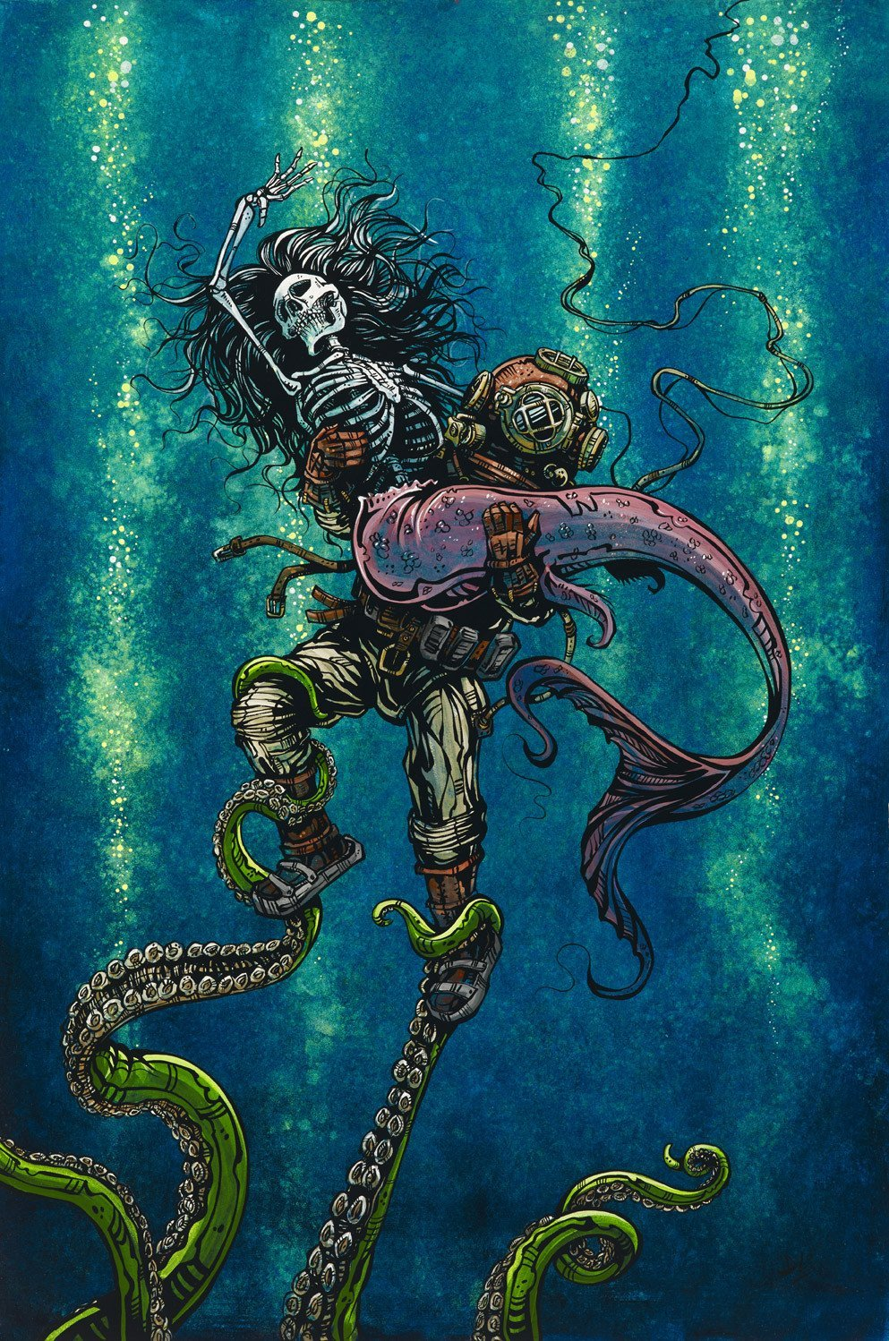 Catch or Release by Day of the Dead Artist David Lozeau, Day of the Dead Art, Dia de los Muertos Art, Dia de los Muertos Artist