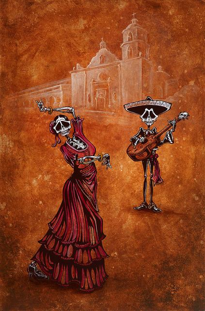 Celebration of the Mission by Day of the Dead Artist David Lozeau, Day of the Dead Art, Dia de los Muertos Art, Dia de los Muertos Artist
