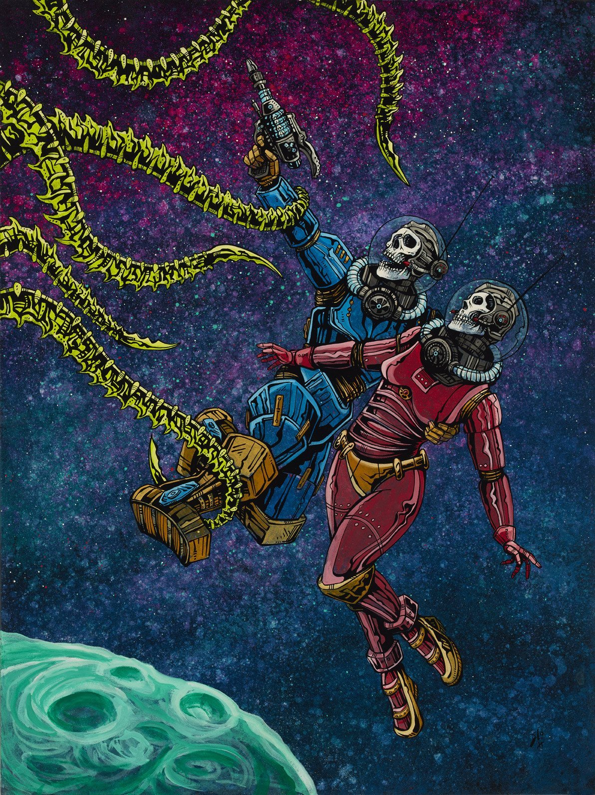 Clash in the Cosmos by Day of the Dead Artist David Lozeau, Day of the Dead Art, Dia de los Muertos Art, Dia de los Muertos Artist
