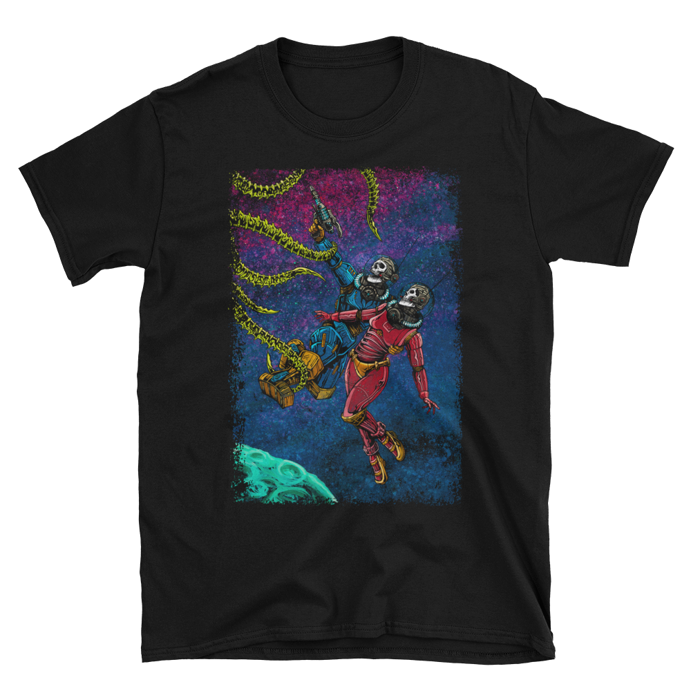 Clash in the Cosmos Shirt by Day of the Dead Artist David Lozeau, Day of the Dead Art, Dia de los Muertos Art, Dia de los Muertos Artist