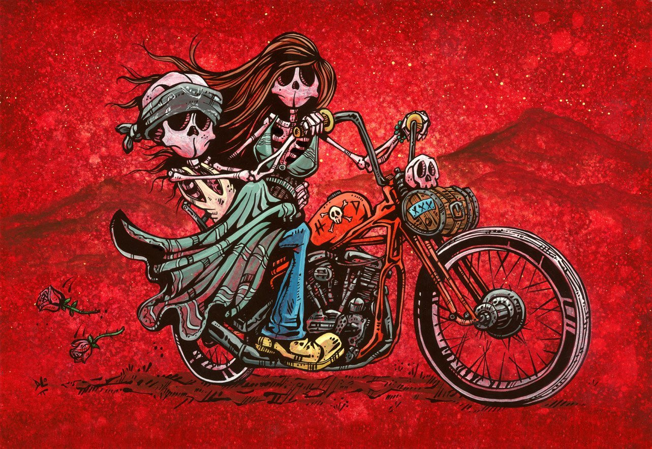 Cruisin' by Day of the Dead Artist David Lozeau, Day of the Dead Art, Dia de los Muertos Art, Dia de los Muertos Artist