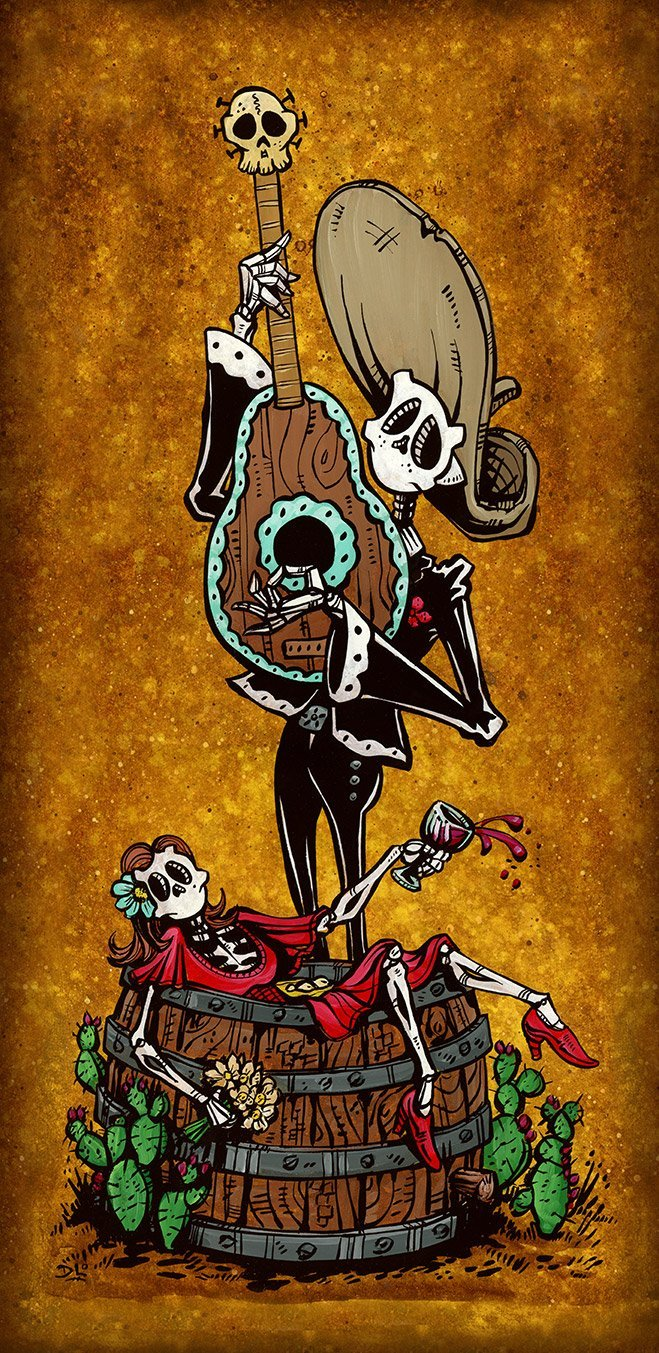 Date Night by Day of the Dead Artist David Lozeau, Day of the Dead Art, Dia de los Muertos Art, Dia de los Muertos Artist