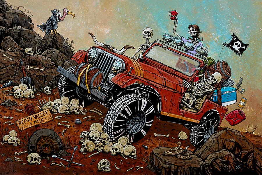 Death Valley by Day of the Dead Artist David Lozeau, Day of the Dead Art, Dia de los Muertos Art, Dia de los Muertos Artist