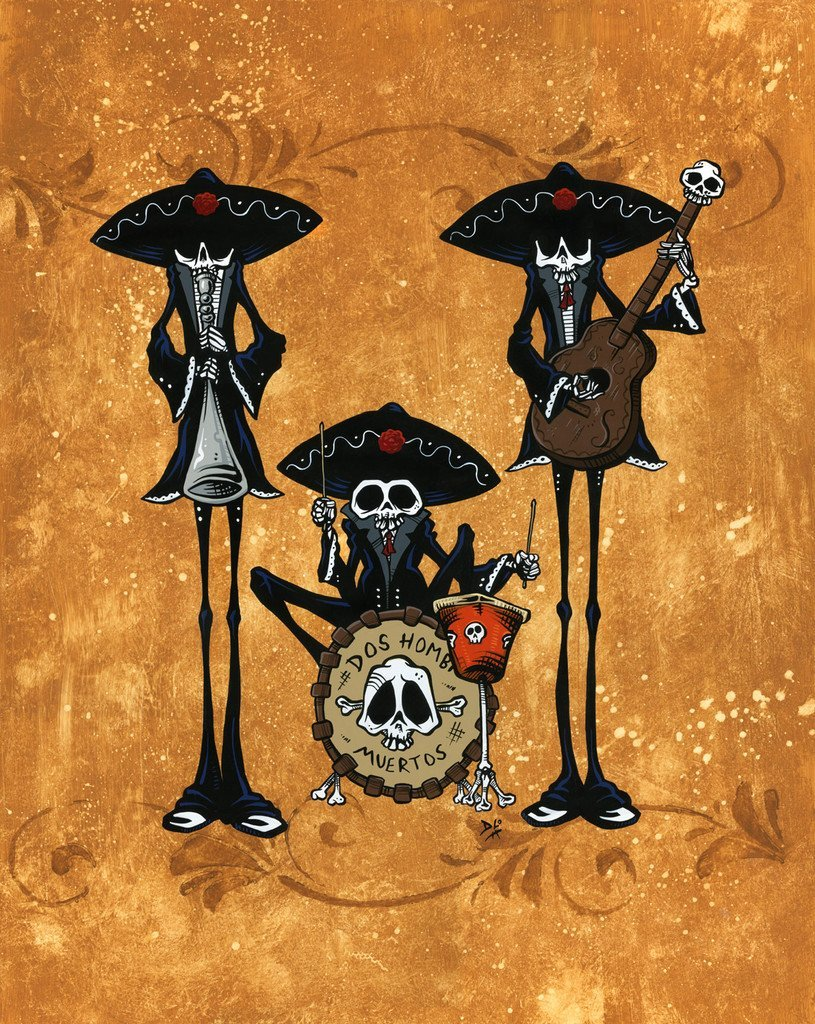 Dos Hombres Muertos by Day of the Dead Artist David Lozeau, Day of the Dead Art, Dia de los Muertos Art, Dia de los Muertos Artist