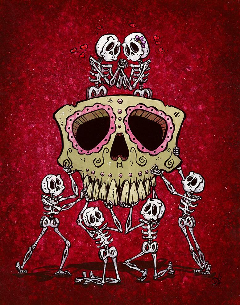 Eterno by Day of the Dead Artist David Lozeau, Dia de los Muertos, Muertos, Sugar Skull