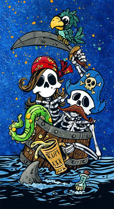 First Mates by Day of the Dead Artist David Lozeau, Day of the Dead Art, Dia de los Muertos Art, Dia de los Muertos Artist