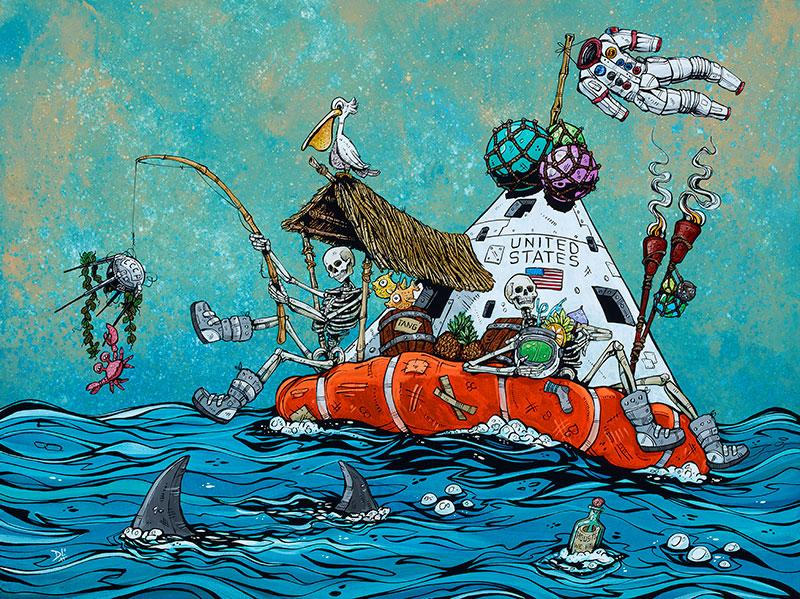 Fishin' Mission by Day of the Dead Artist David Lozeau, Day of the Dead Art, Dia de los Muertos Art, Dia de los Muertos Artist