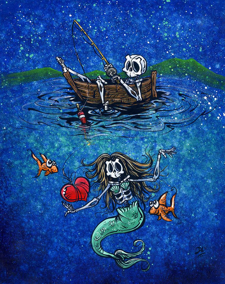 Fishing for Love by Day of the Dead Artist David Lozeau, Day of the Dead Art, Dia de los Muertos Art, Dia de los Muertos Artist