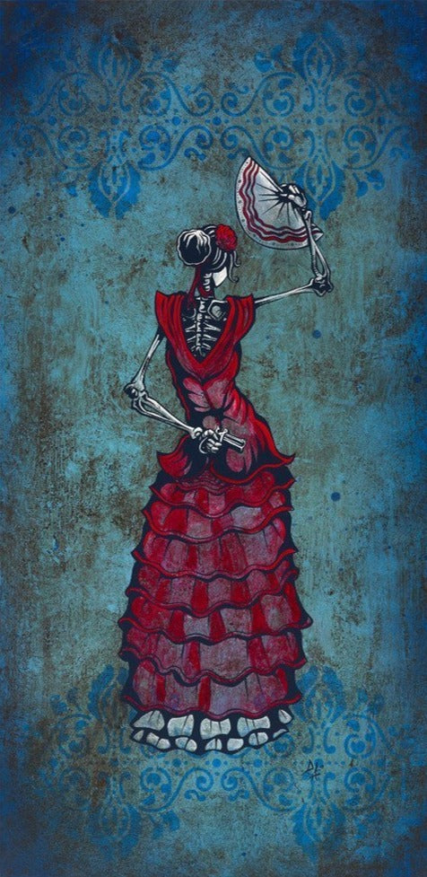 Flamenco Peligroso by Day of the Dead Artist David Lozeau, Day of the Dead Art, Dia de los Muertos Art, Dia de los Muertos Artist