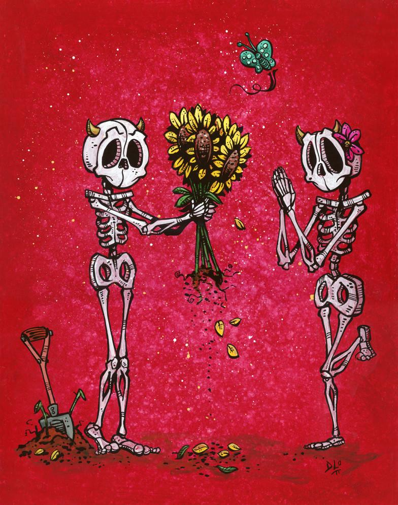 Flowers for You by Day of the Dead Artist David Lozeau, Dia de los Muertos, Muertos, Sugar Skull