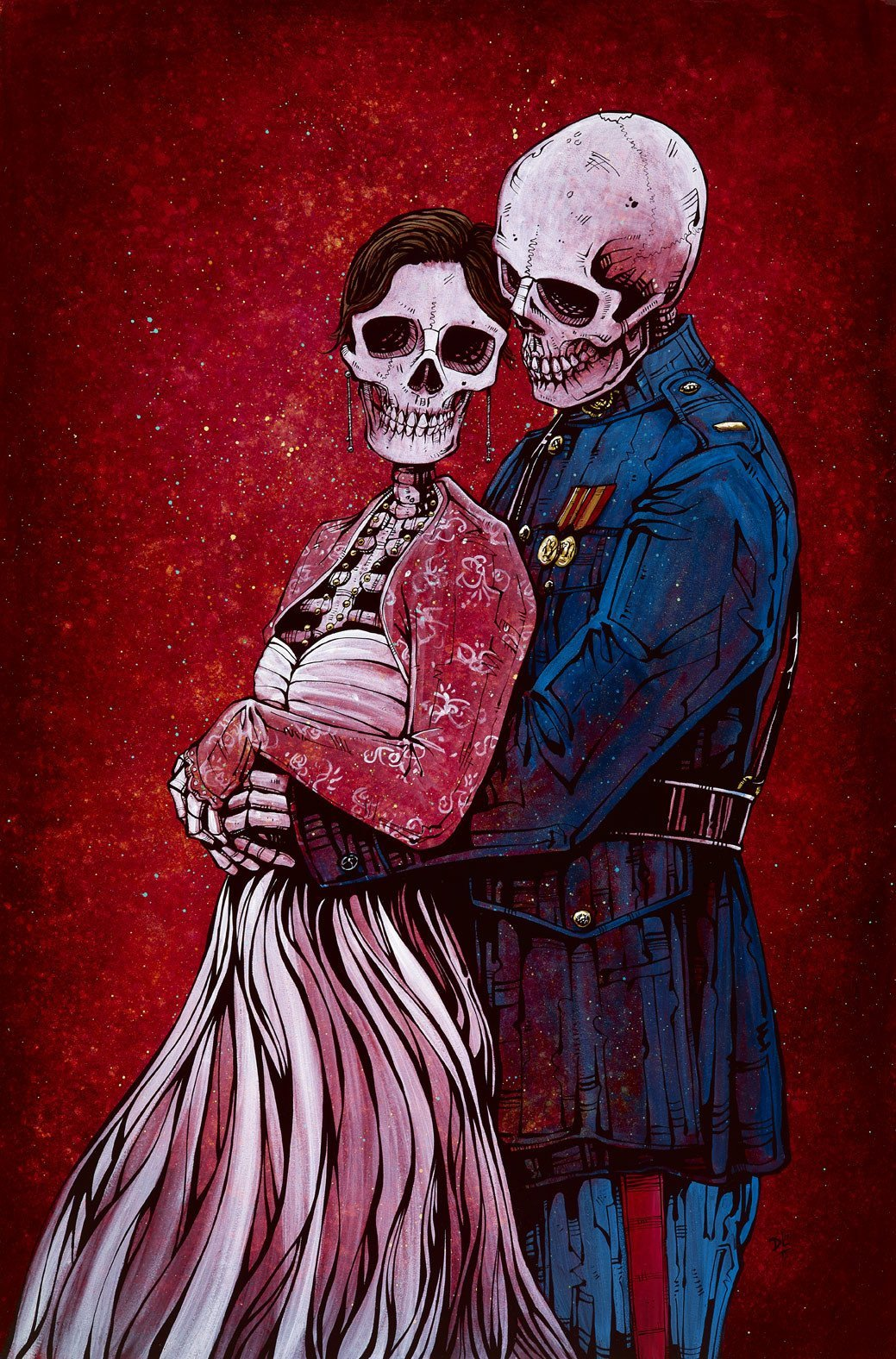 For Love and Country by Day of the Dead Artist David Lozeau, Day of the Dead Art, Dia de los Muertos Art, Dia de los Muertos Artist