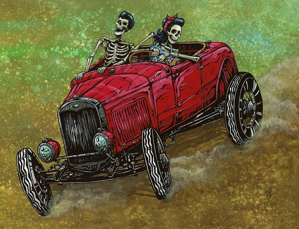 Hell on Wheels by Day of the Dead Artist David Lozeau, Day of the Dead Art, Dia de los Muertos Art, Dia de los Muertos Artist