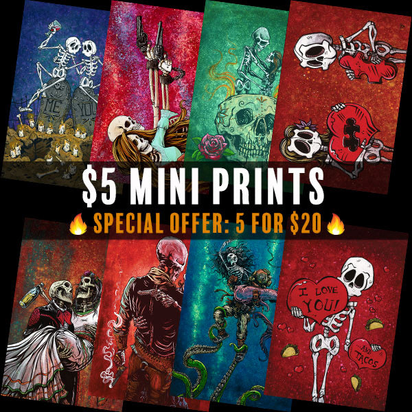$5 Mini Prints by Day of the Dead Artist David Lozeau, Day of the Dead Art, Dia de los Muertos Art, Dia de los Muertos Artist