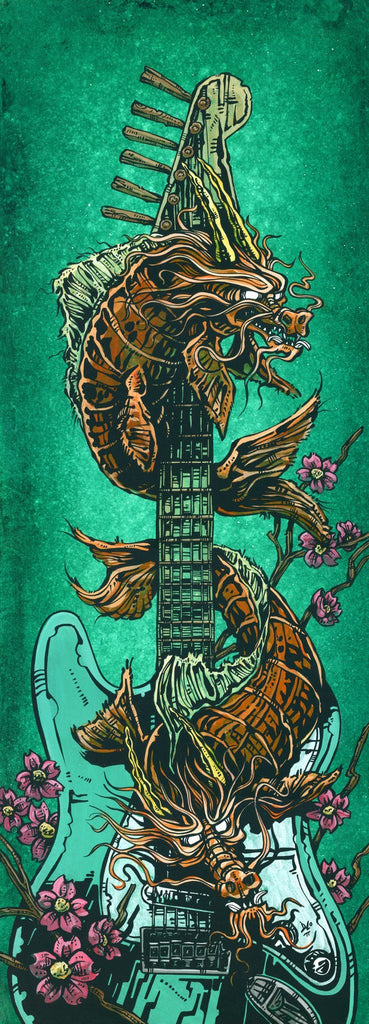 Day of the Dead Artist David Lozeau, Dia de los Muertos, Muertos, Sugar Skull, Calavera, Koi Dragon Strat