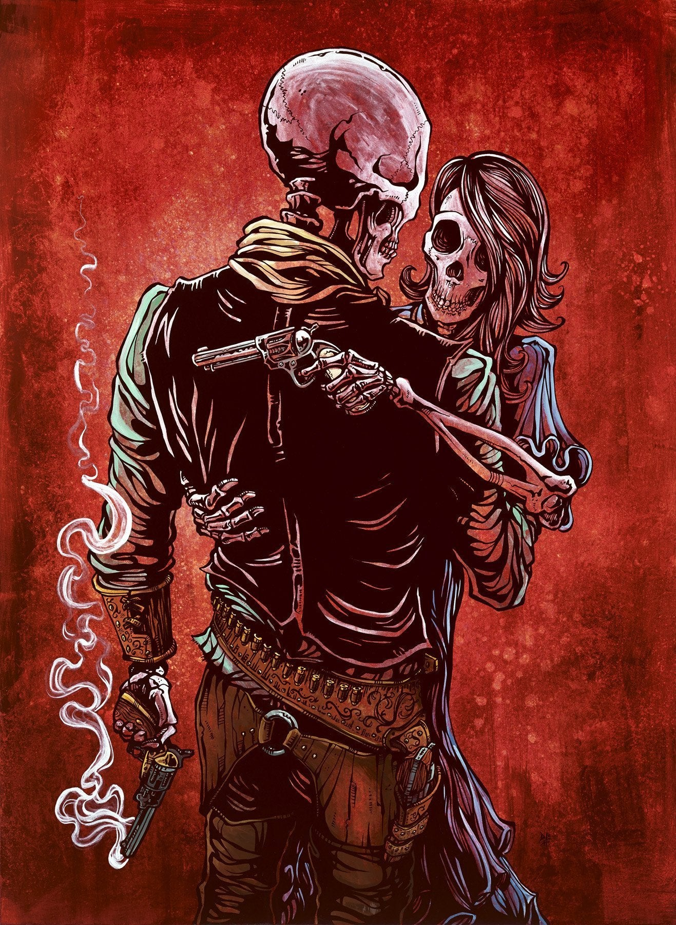 Love, Trust, and a Revolver by Day of the Dead Artist David Lozeau, Day of the Dead Art, Dia de los Muertos Art, Dia de los Muertos Artist