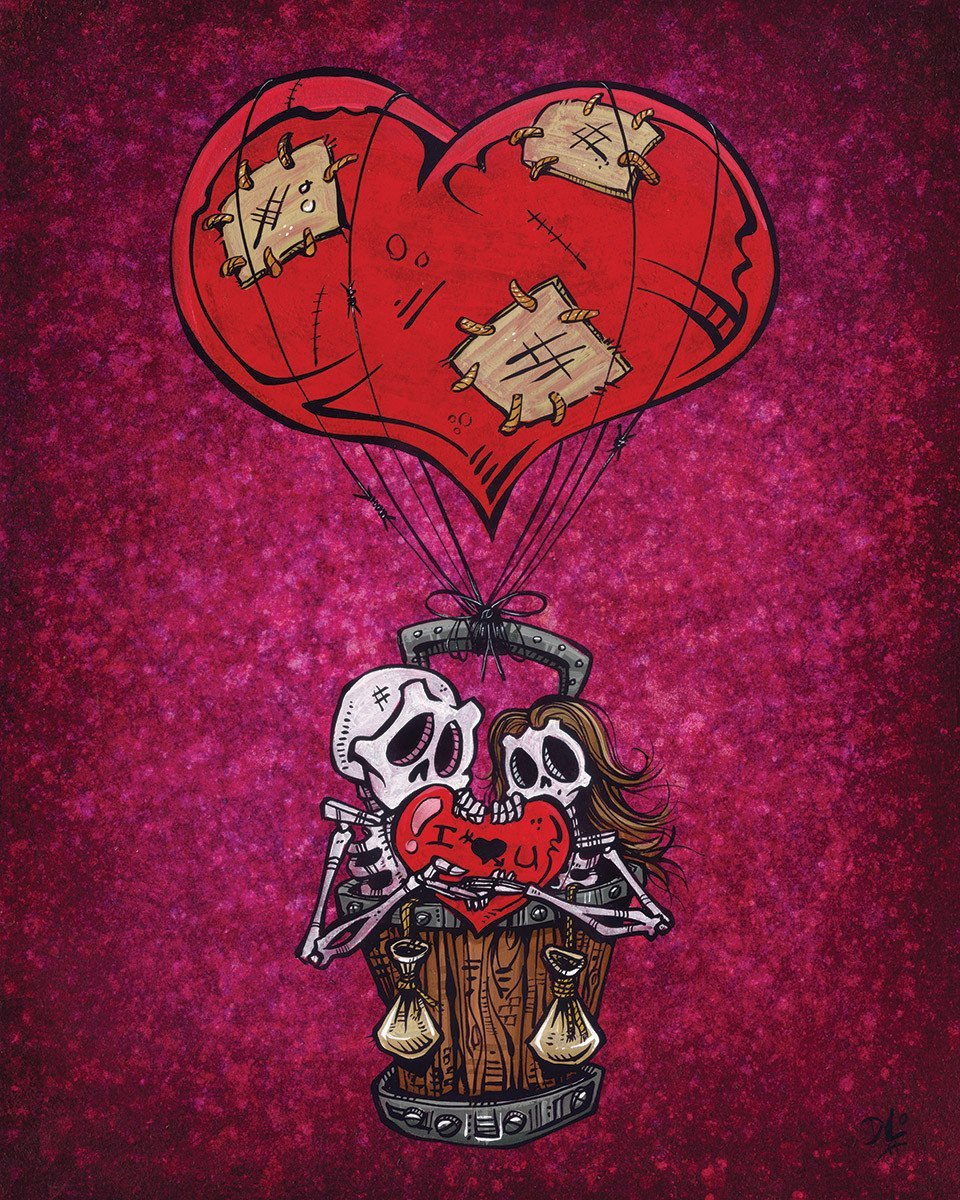 Love Will Lift Us Up by Day of the Dead Artist David Lozeau, Day of the Dead Art, Dia de los Muertos Art, Dia de los Muertos Artist