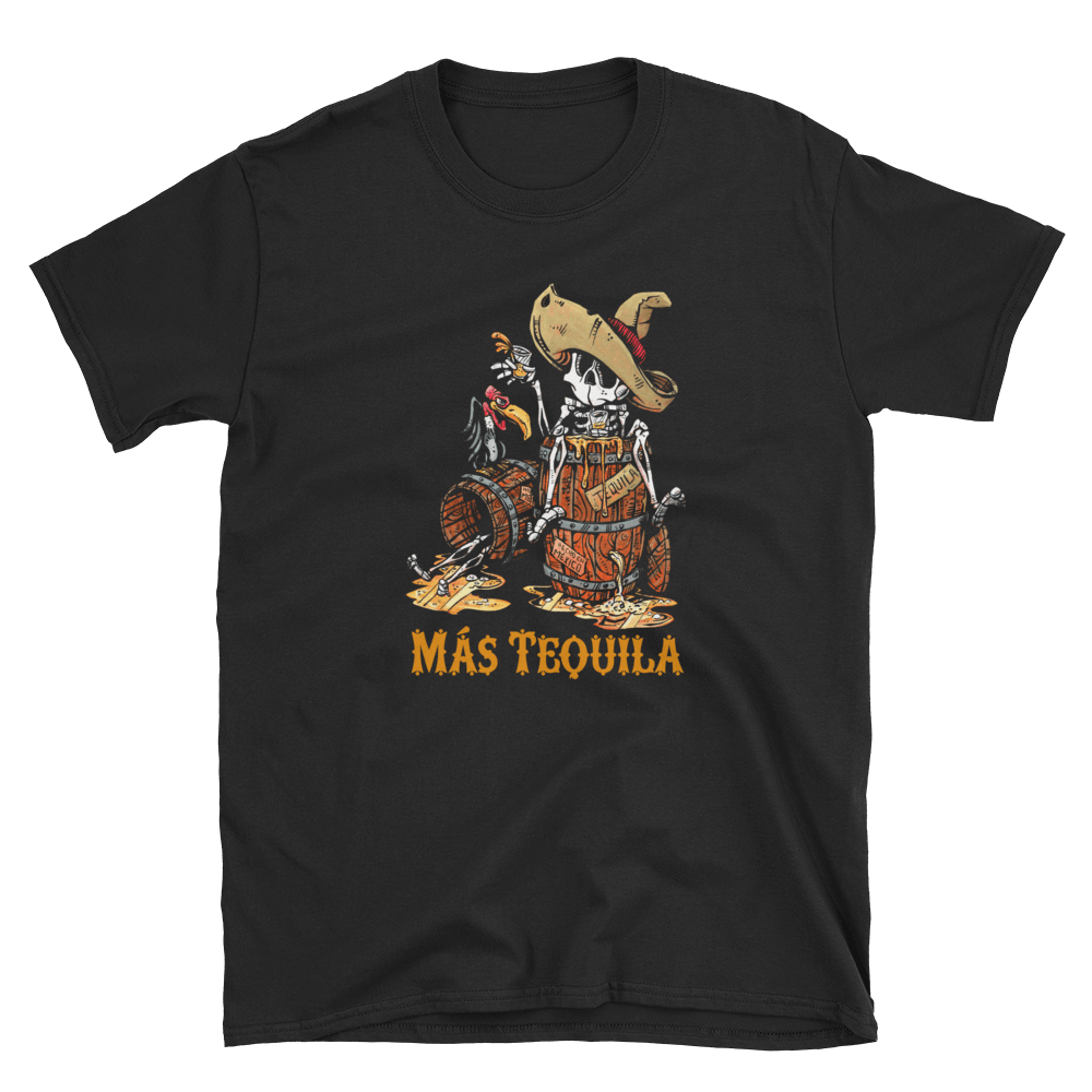 Mas Tequila Shirt by Day of the Dead Artist David Lozeau, Day of the Dead Art, Dia de los Muertos Art, Dia de los Muertos Artist
