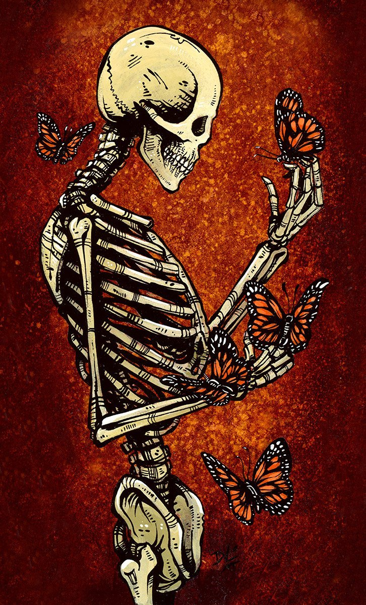 Metamorphosis by Day of the Dead Artist David Lozeau, Day of the Dead Art, Dia de los Muertos Art, Dia de los Muertos Artist