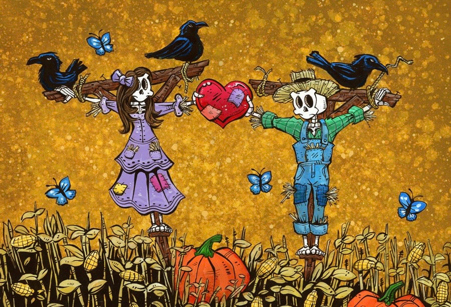 A Hearty Harvest by Day of the Dead Artist David Lozeau, Day of the Dead Art, Dia de los Muertos Art, Dia de los Muertos Artist