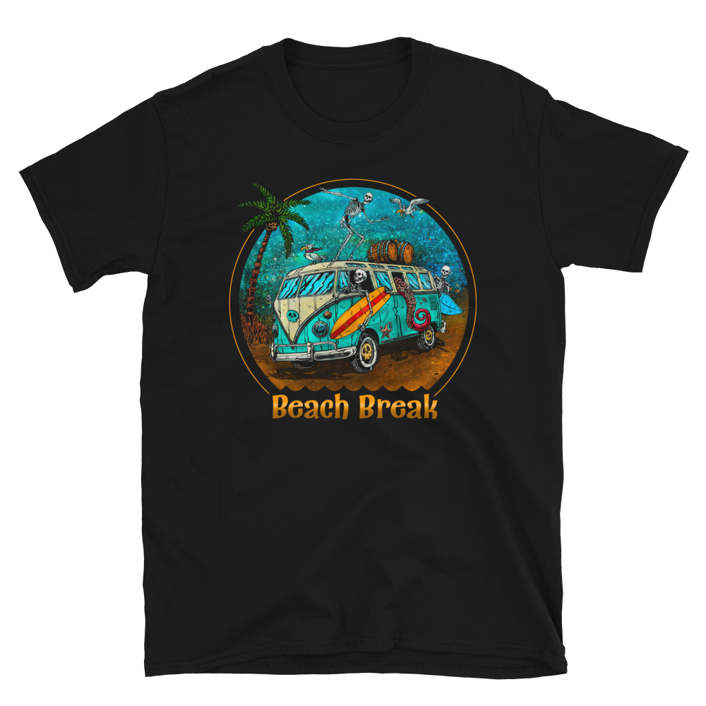 Beach Break Shirt by Day of the Dead Artist David Lozeau, Day of the Dead Art, Dia de los Muertos Art, Dia de los Muertos Artist