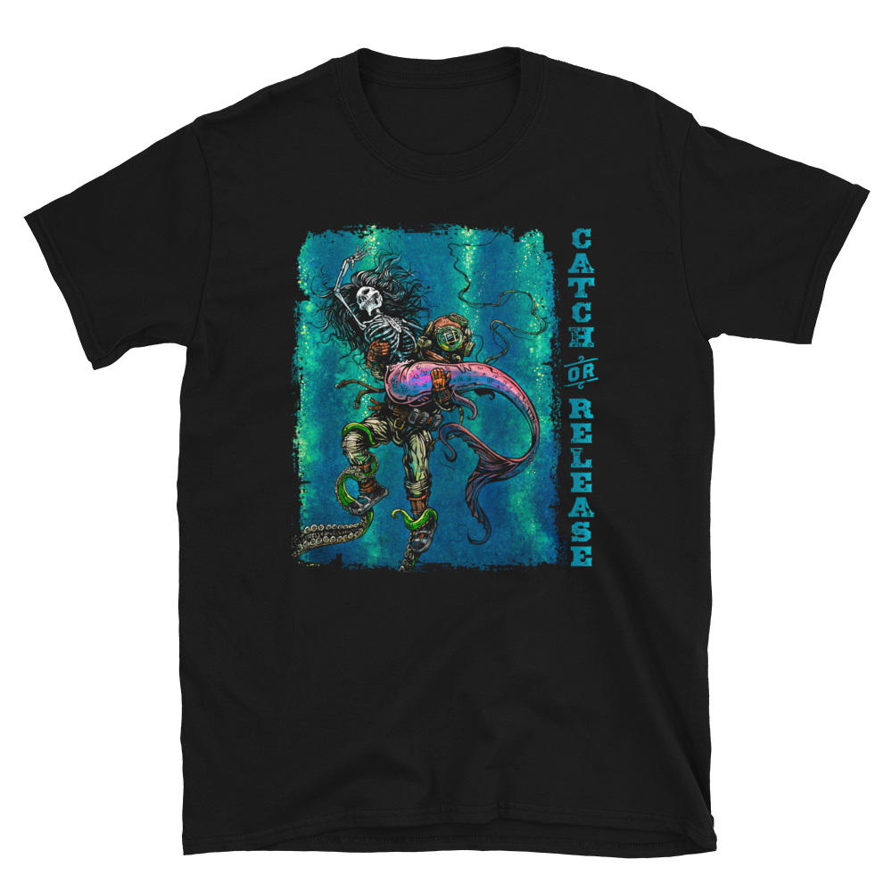 Catch or Release Shirt by Day of the Dead Artist David Lozeau, Day of the Dead Art, Dia de los Muertos Art, Dia de los Muertos Artist