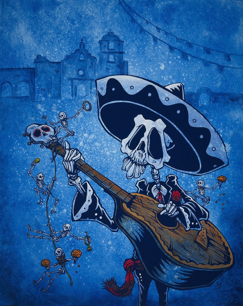 Day of the Dead Artist David Lozeau, Dia de los Muertos, Muertos, Sugar Skull, Calavera, Music of the Mission