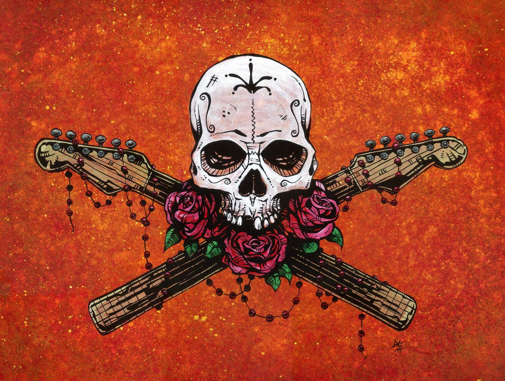 Day of the Dead Artist David Lozeau, Dia de los Muertos, Muertos, Sugar Skull, Calavera, Music Saves Your Soul