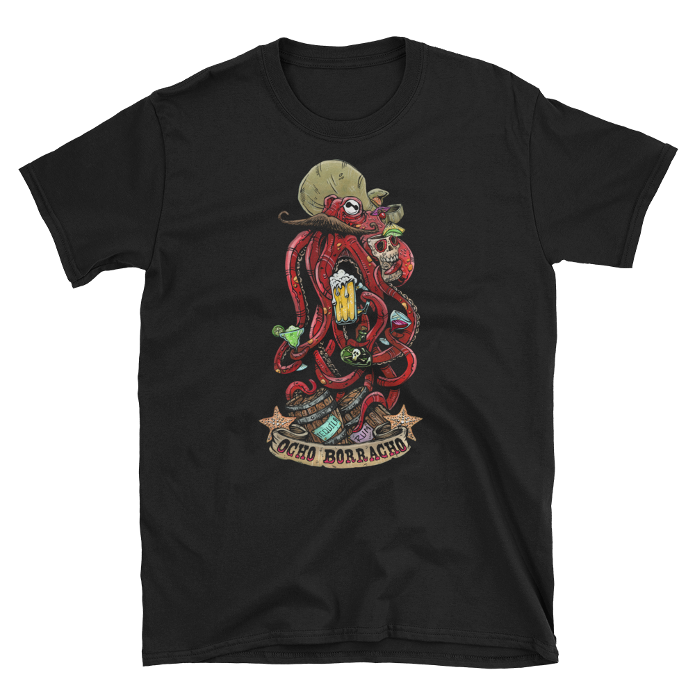 Ocho Borracho Shirt by Day of the Dead Artist David Lozeau, Day of the Dead Art, Dia de los Muertos Art, Dia de los Muertos Artist