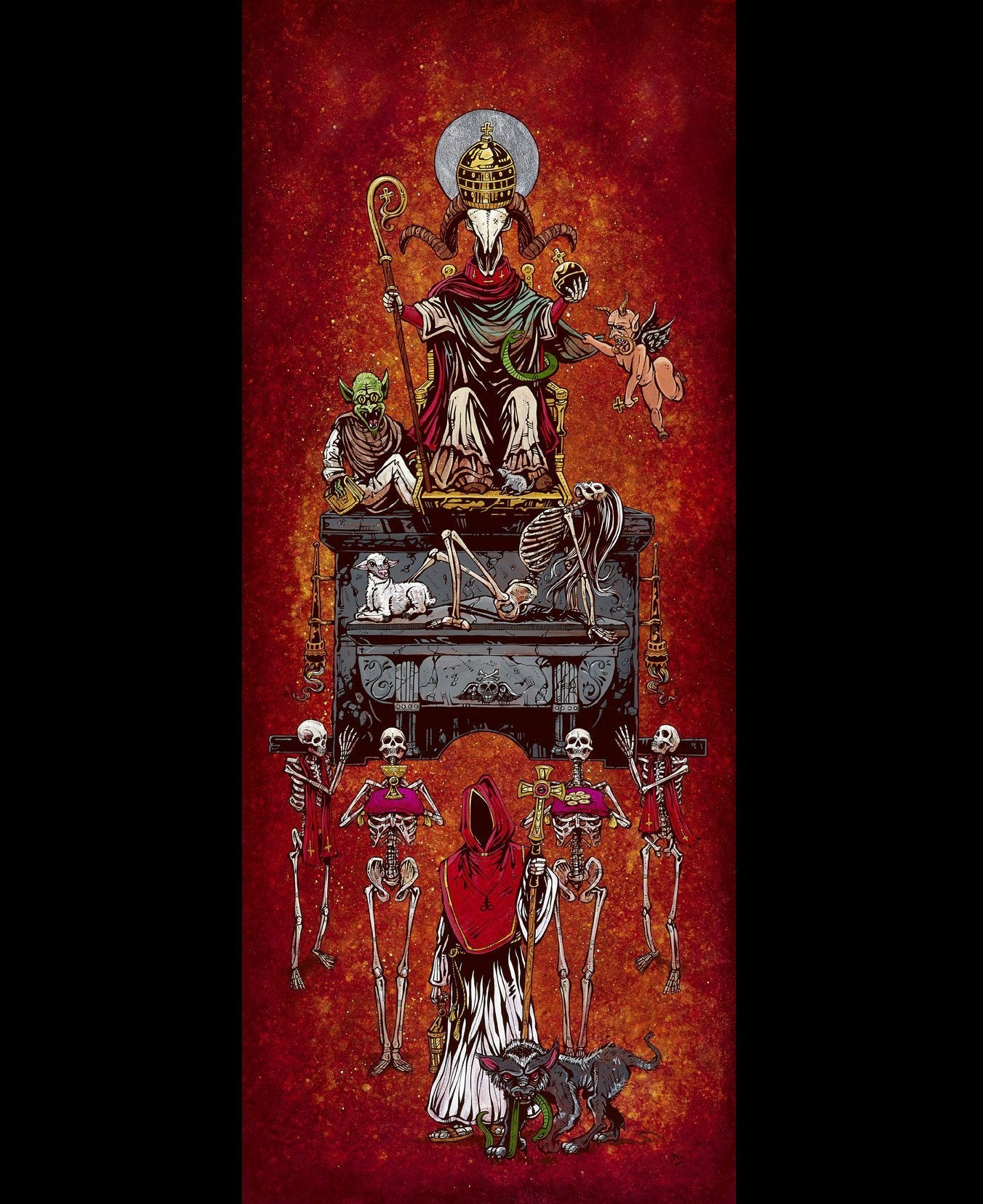 Parade of the False Idol by Day of the Dead Artist David Lozeau, Day of the Dead Art, Dia de los Muertos Art, Dia de los Muertos Artist