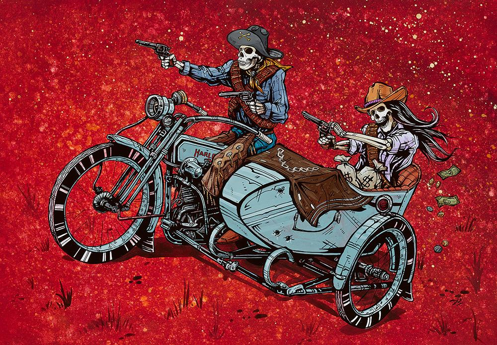 Partners in Crime by Day of the Dead Artist David Lozeau, Day of the Dead Art, Dia de los Muertos Art, Dia de los Muertos Artist