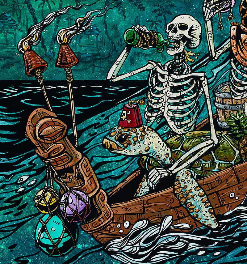 Party Barge by Day of the Dead Artist David Lozeau, Dia de los Muertos, Muertos, Sugar Skull