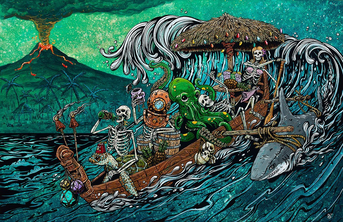 Party Barge by Day of the Dead Artist David Lozeau, Day of the Dead Art, Dia de los Muertos Art, Dia de los Muertos Artist