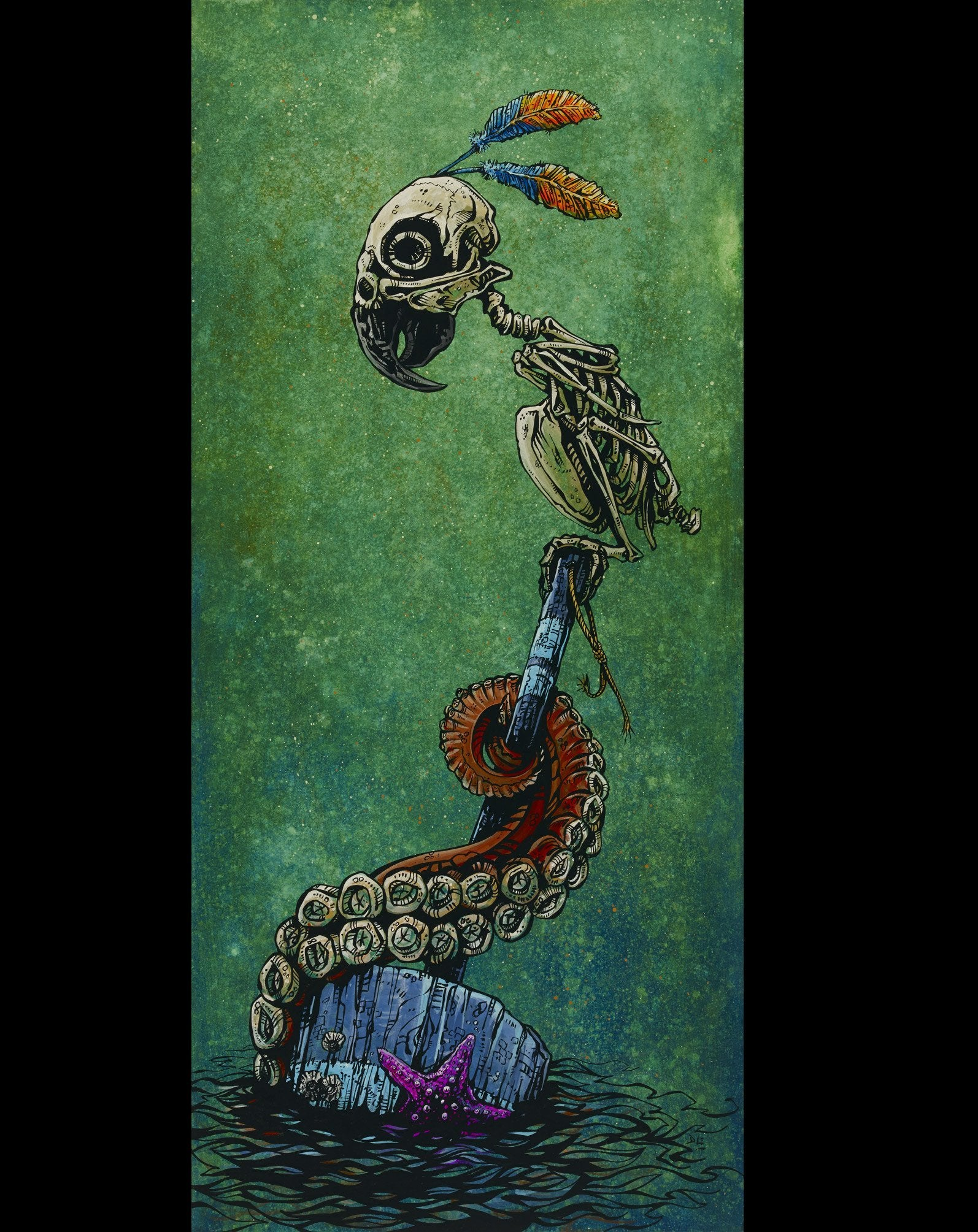 Precarious Perch by Day of the Dead Artist David Lozeau, Dia de los Muertos, Muertos, Sugar Skull