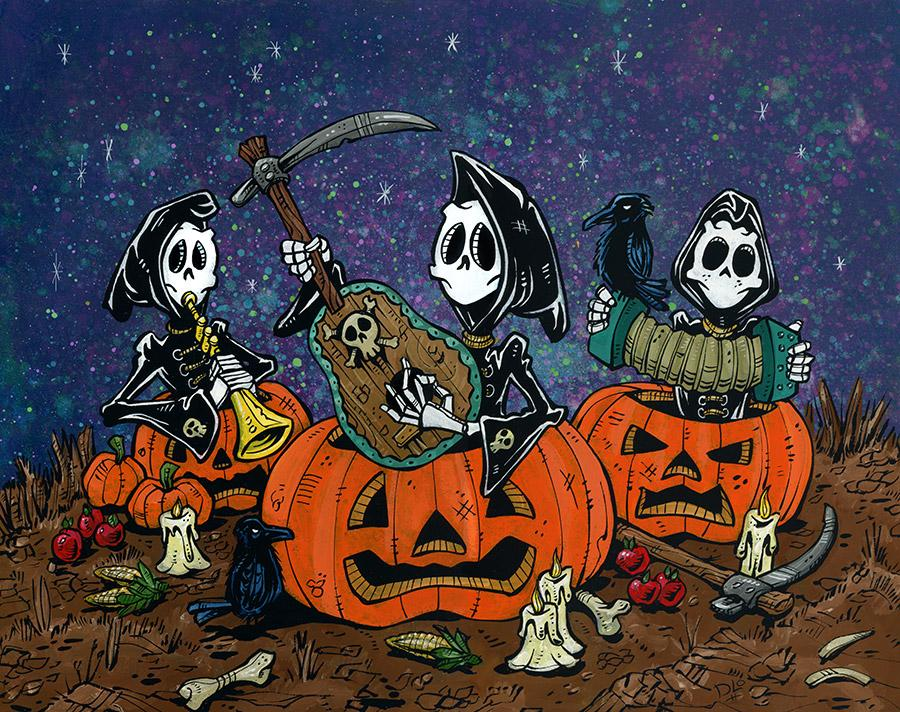 Pumpkin Patch Players by Day of the Dead Artist David Lozeau, Day of the Dead Art, Dia de los Muertos Art, Dia de los Muertos Artist