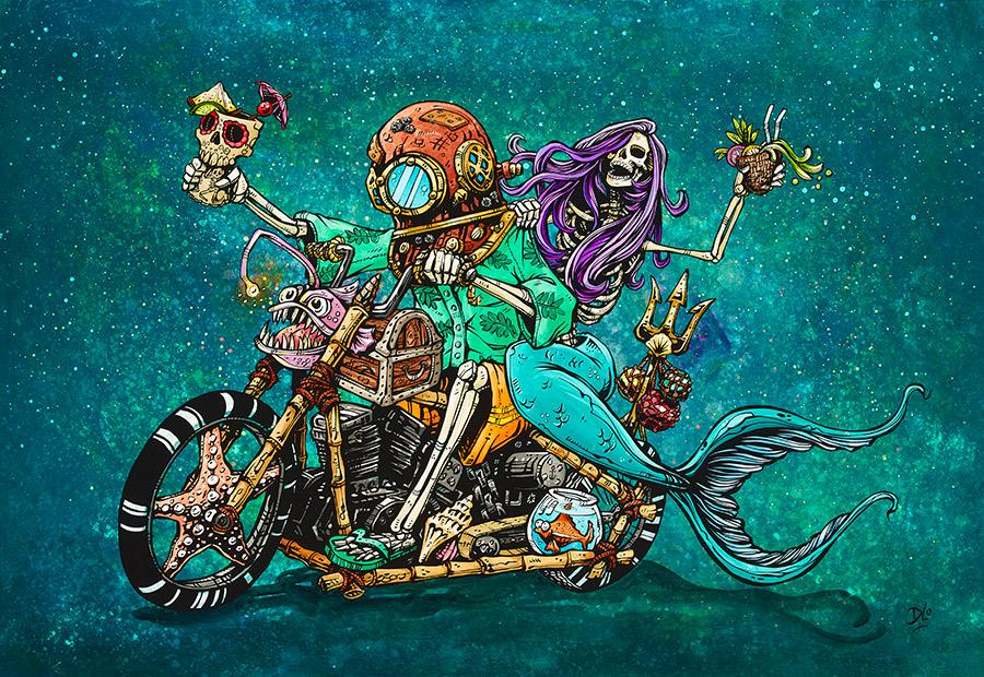 Reef Riders by Day of the Dead Artist David Lozeau, Day of the Dead Art, Dia de los Muertos Art, Dia de los Muertos Artist