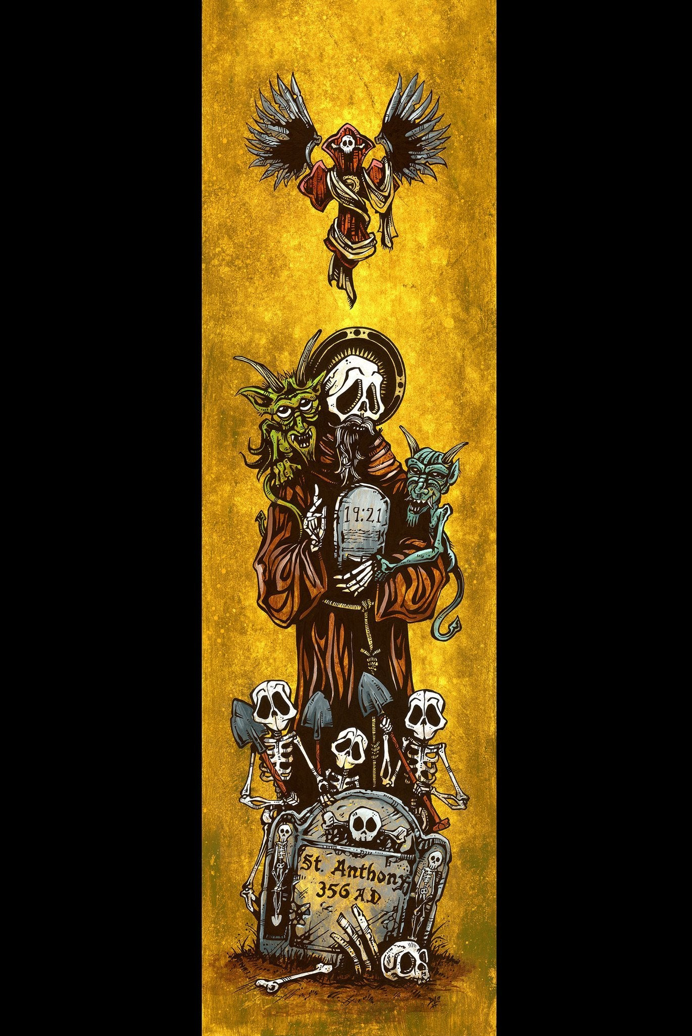 Saint Anthony by Day of the Dead Artist David Lozeau, Day of the Dead Art, Dia de los Muertos Art, Dia de los Muertos Artist
