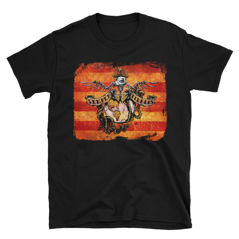 Semper Fi Shirt by Day of the Dead Artist David Lozeau, Day of the Dead Art, Dia de los Muertos Art, Dia de los Muertos Artist
