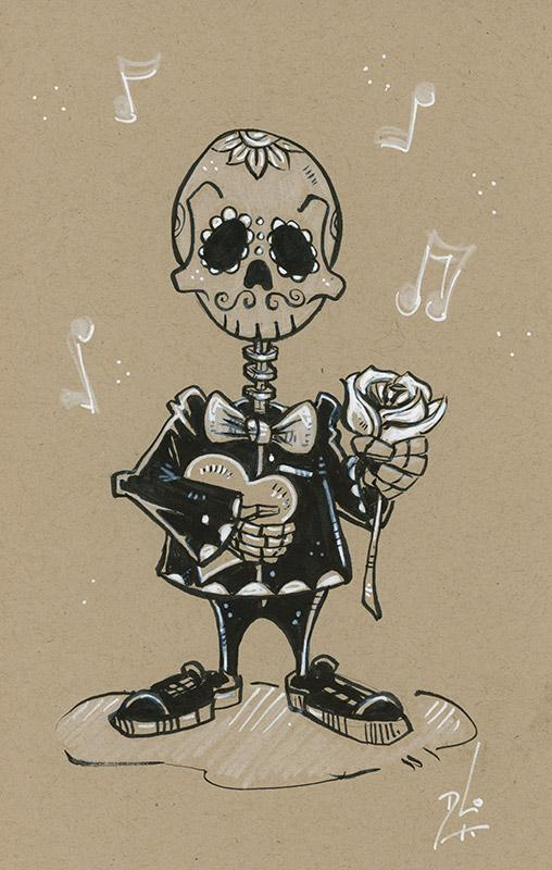 Sketch #2 by Day of the Dead Artist David Lozeau, Dia de los Muertos, Muertos, Sugar Skull