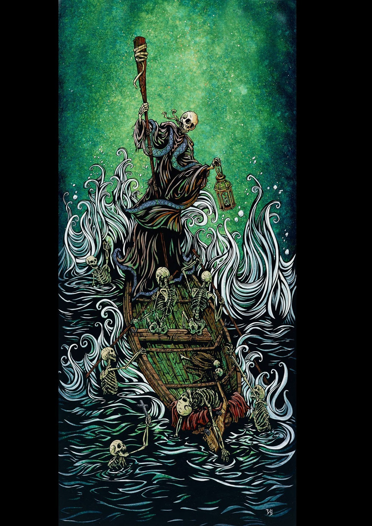 The Boatman on the River Styx by Day of the Dead Artist David Lozeau, Dia de los Muertos, Muertos, Sugar Skull