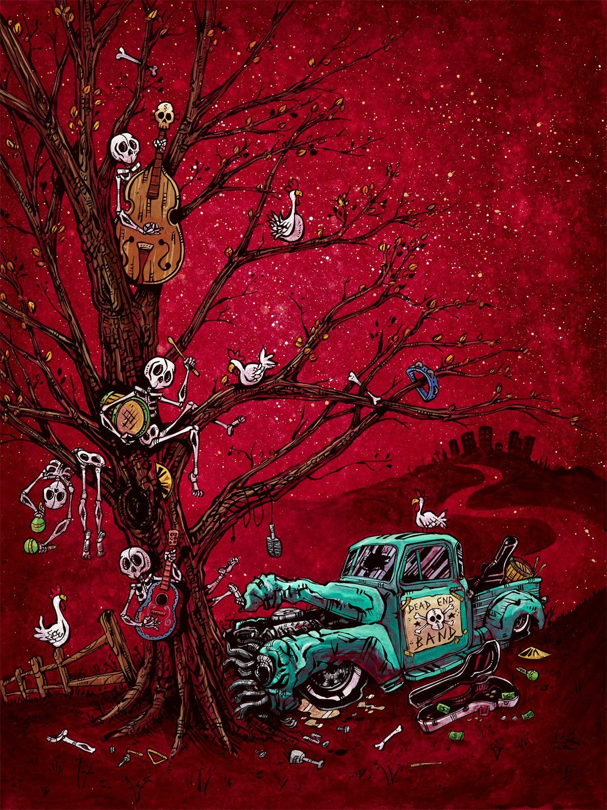 The Dead End Band by Day of the Dead Artist David Lozeau, Day of the Dead Art, Dia de los Muertos Art, Dia de los Muertos Artist