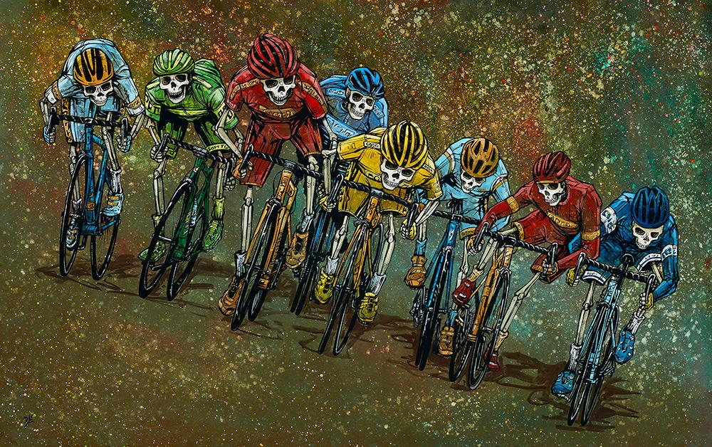 The Peloton by Day of the Dead Artist David Lozeau, Dia de los Muertos, Muertos, Sugar Skull