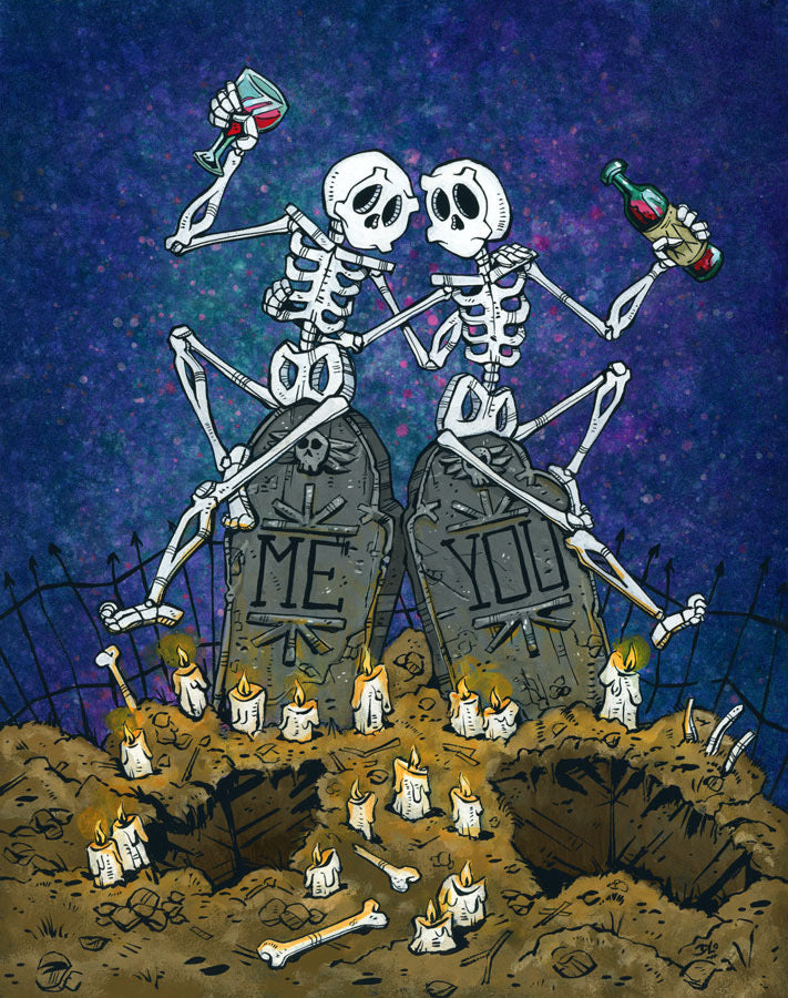 Me and You by Day of the Dead Artist David Lozeau, Day of the Dead Art, Dia de los Muertos Art, Dia de los Muertos Artist