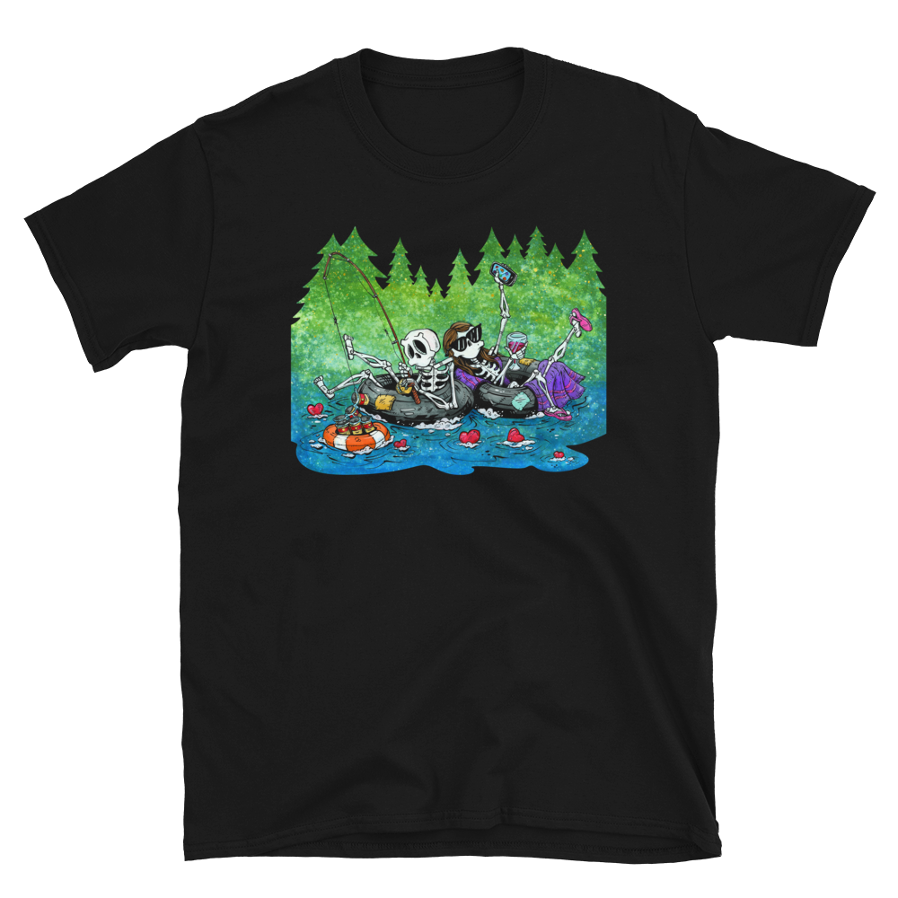 Two for Tubing Shirt by Day of the Dead Artist David Lozeau, Day of the Dead Art, Dia de los Muertos Art, Dia de los Muertos Artist