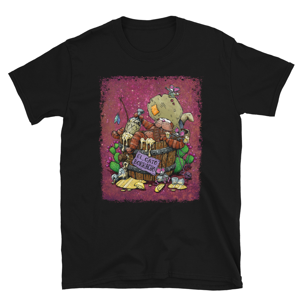 El Gato Borracho Shirt by Day of the Dead Artist David Lozeau, Day of the Dead Art, Dia de los Muertos Art, Dia de los Muertos Artist