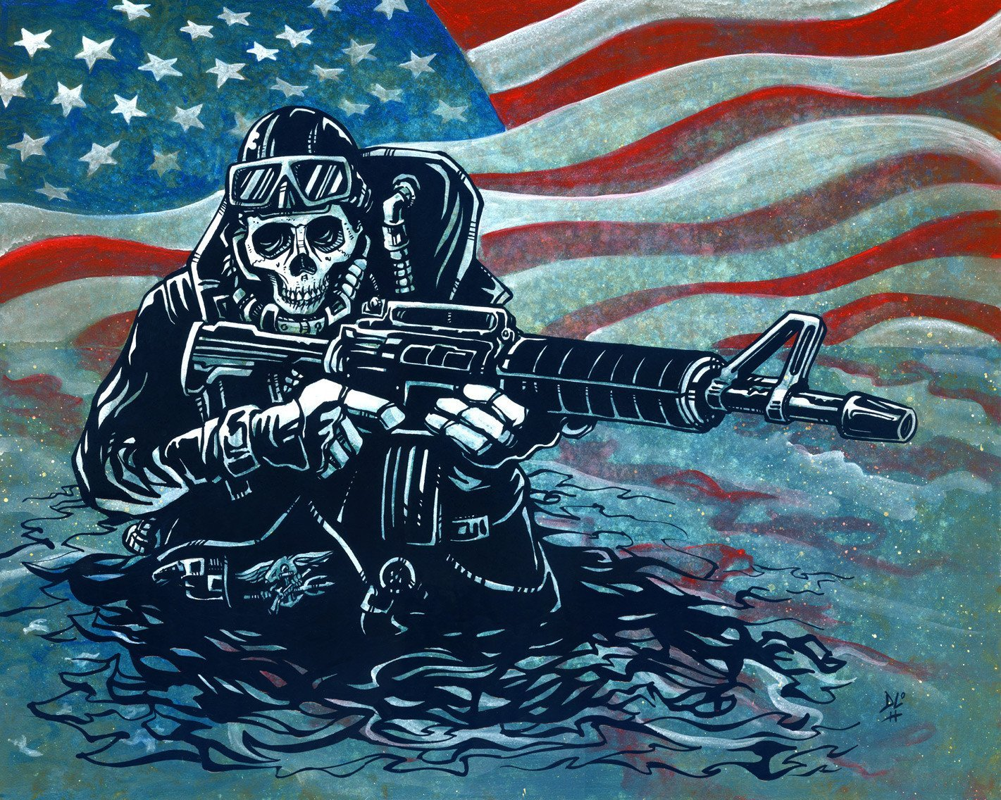 US Navy SEAL by Day of the Dead Artist David Lozeau, Dia de los Muertos, Muertos, Sugar Skull