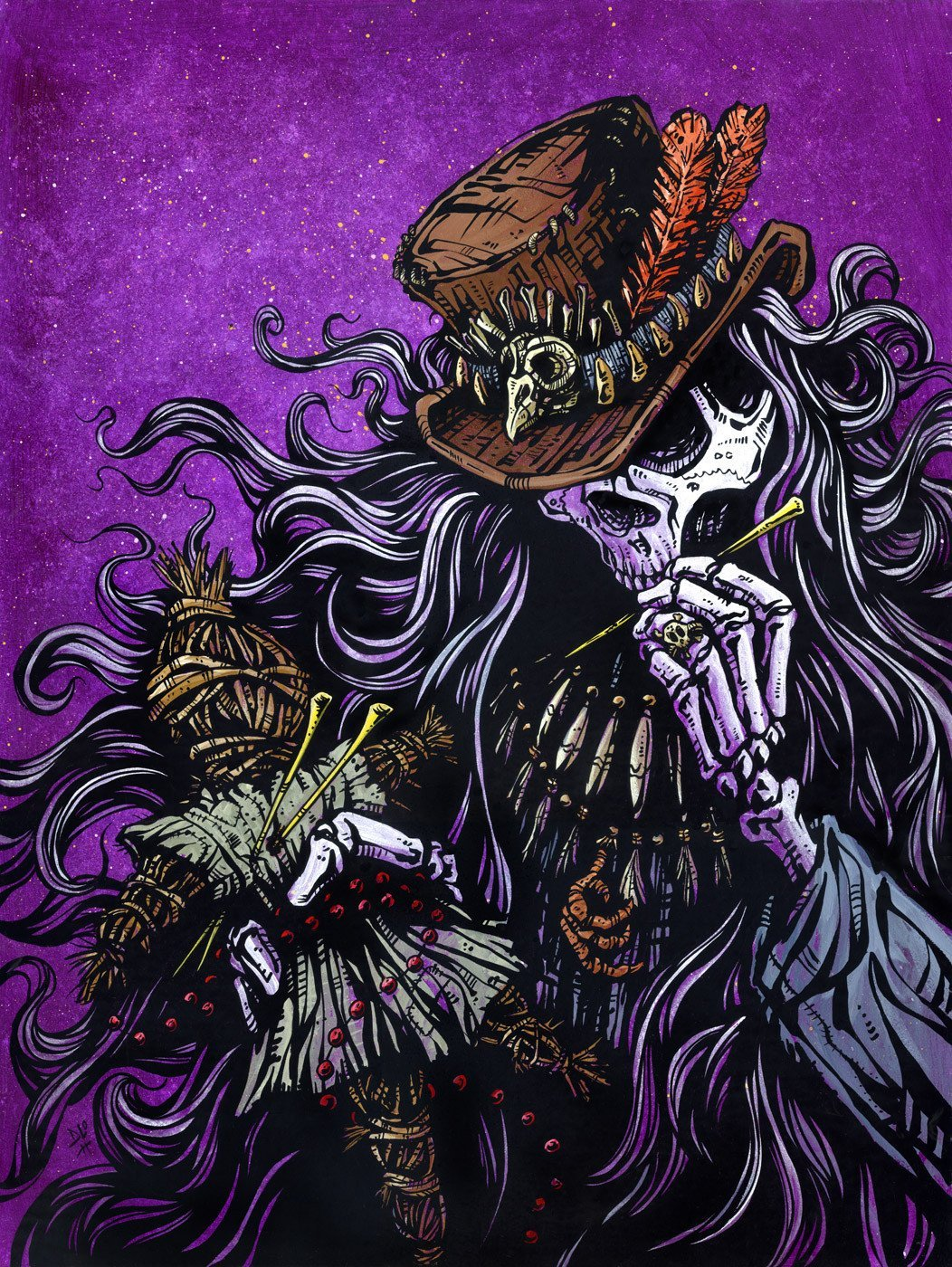 Voodoo Priest by Day of the Dead Artist David Lozeau, Dia de los Muertos, Muertos, Sugar Skull