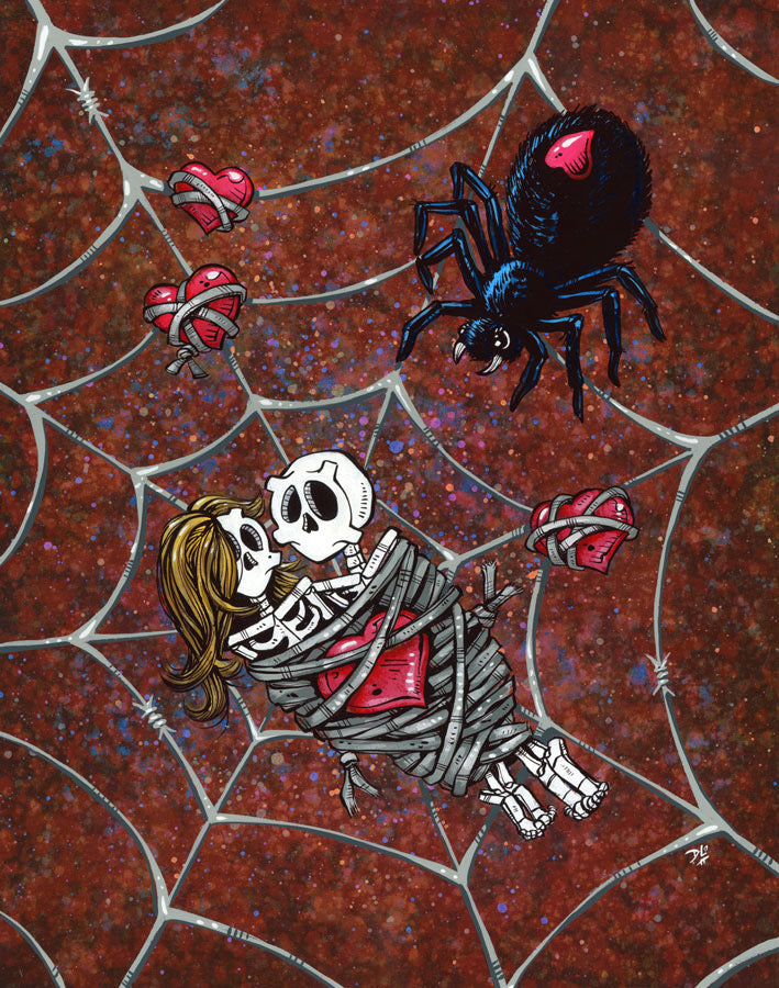 Caught in Your Web by Day of the Dead Artist David Lozeau, Day of the Dead Art, Dia de los Muertos Art, Dia de los Muertos Artist