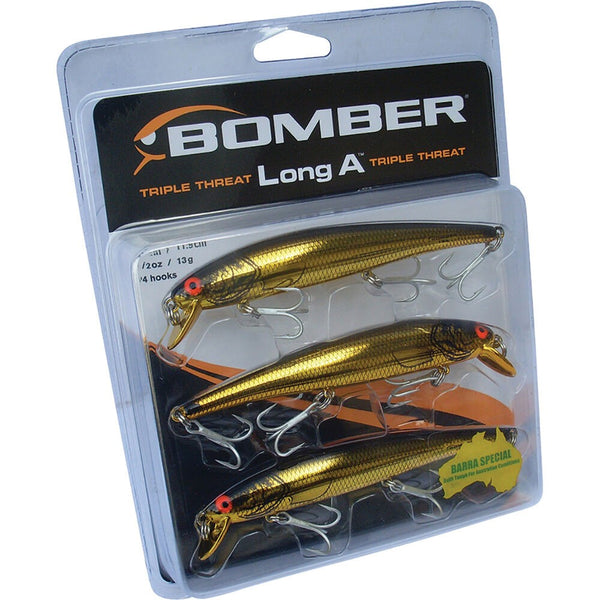 BOMBER LONG A GOLD LURES - 3 PACK