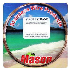 MASON SINGLE STRAND PRE-STRAIGHTENED STAINLESS STEEL WIRE LEADER MATERIAL