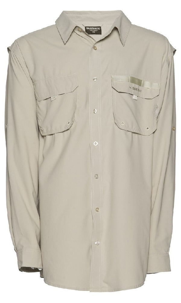 SHIMANO VENTED LONG SLEEVED FISHING SUN SHIRT - OATMEAL